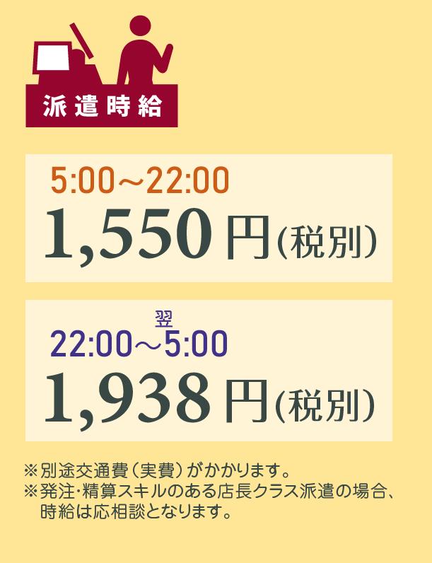 派遣時給 5:00~22:00は1,550円(税別)、22:00~翌5:00は1,938円(税別)