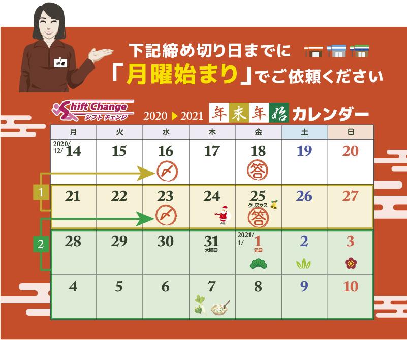 シフトチェンジ年末年始カレンダー